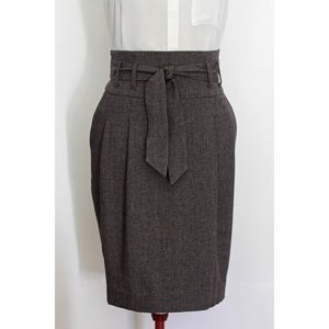 High Waisted Paper Bag Skirt, mauve/brown tweed, L